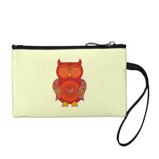 Red Psychedelic Owl Coin Purse