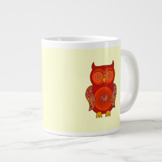 Red Psychedelic Owl Extra Large Mug