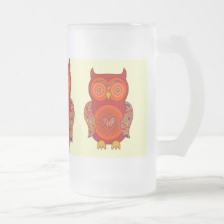 Red Psychedelic Owl Glass Coffee Mugs