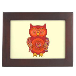 Red Psychedelic Owl Keepsake Box