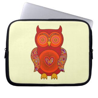 Red Psychedelic Owl Laptop Sleeve