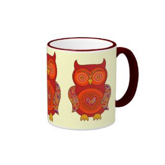 Red Psychedelic Owl Coffee Mug