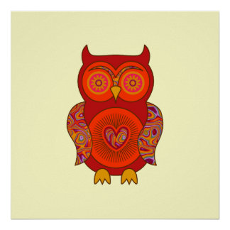 Red Psychedelic Owl Poster