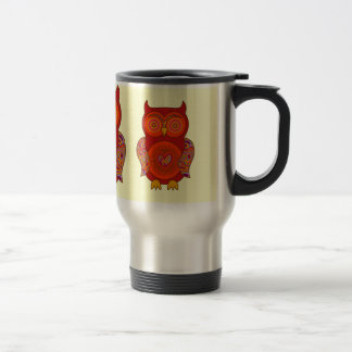 Red Psychedelic Owl Travel Mug