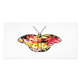 Red Psychodelic Butterfly Custom Photo Card