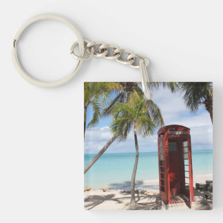 Red public Telephone Booth on Antigua Key Ring