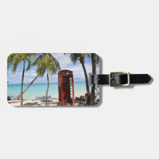 Red public Telephone Booth on Antigua Luggage Tag