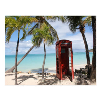 Red public Telephone Booth on Antigua Postcard