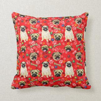 Red Pug Print Cushion