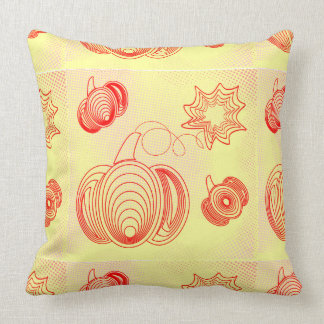 Red pumpkins with rustic retro halftones cushion