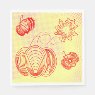 Red pumpkins with rustic retro halftones paper napkin