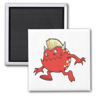 red punk devil mohawk monster refrigerator magnet