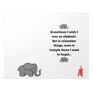 """red puppy """"sometimes I wish... elephant"""" Notepad"""