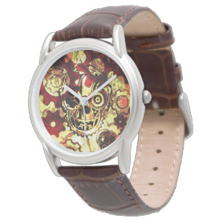 red puppy Steampunk Skeleton Watch