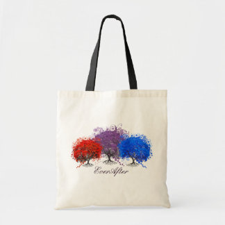 Red Purple and Blue Romantic Heart Leaf Tree Tote Bags