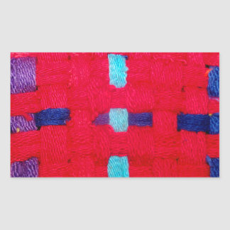 Red, Purple and Blue Weave Rectangular Sticker