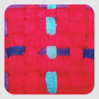 Red, Purple and Blue Weave Square Sticker