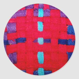 Red, Purple and Blue Weave Round Stickers