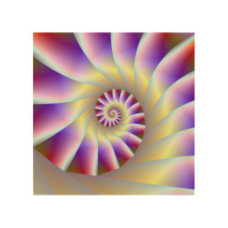 Red Purple and White Spiral Wood Canvas