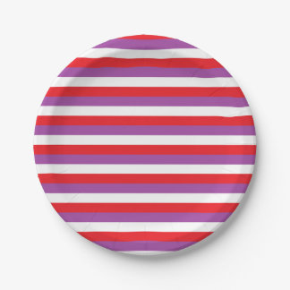Red, Purple and White Stripes 7 Inch Paper Plate
