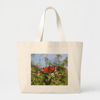 Red Purple Black Butterfly on a Berry Plant Large Tote Bag