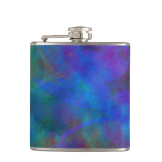 Red Purple Blue Watercolor Abstract Background Hip Flask