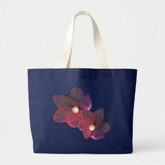 Red / Purple Gossamer Flower Ladies Tote Canvas Bag