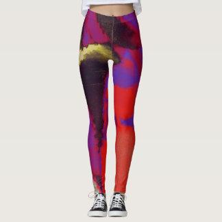 Red Purple Paint Splatter Leggings