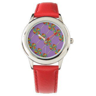 Red Purple Rainbow Lollipop Lollipops Candy Watch