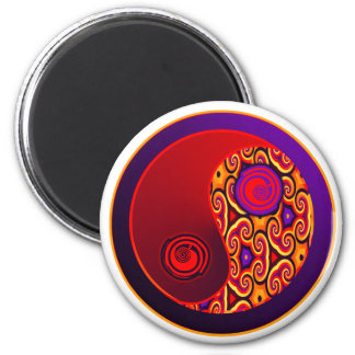 Red & Purple Swirls Yin Yang Magnet