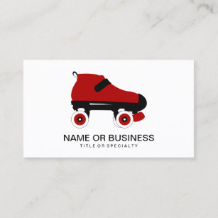 Roller skating business cards business card printing zazzle uk red quad roller derby skate business card reheart Choice Image