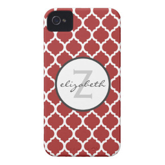 Red Quatrefoil Monogram Case-Mate iPhone 4 Cases