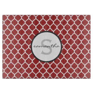 Red Quatrefoil Monogram Cutting Board