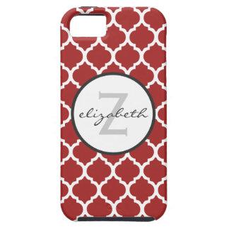 Red Quatrefoil Monogram iPhone 5 Covers