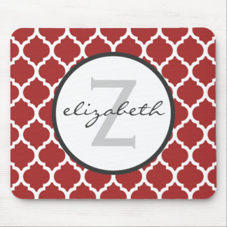 Red Quatrefoil Monogram Mouse Mat
