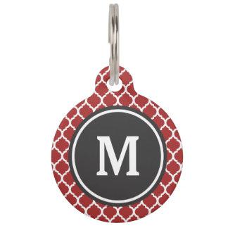 Red Quatrefoil Monogram Pet ID Tag