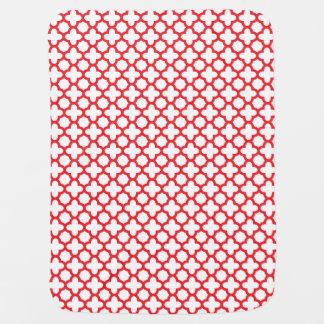 Red Quatrefoil Pattern Baby Blanket