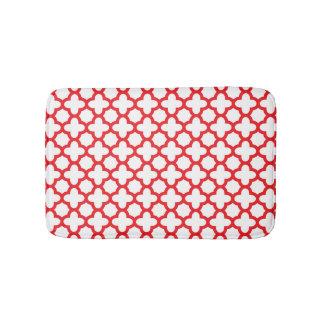Red Quatrefoil Pattern Bath Mats