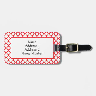 Red Quatrefoil Pattern Luggage Tag