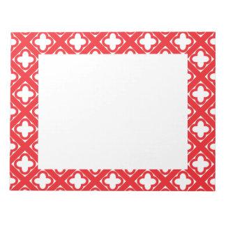 Red Quatrefoil Pattern Notepad