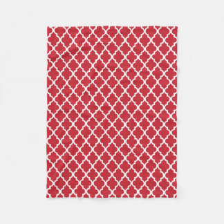 Red Quatrefoil Tiles Pattern Fleece Blanket