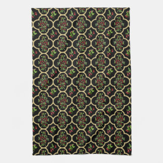 Red Quatrefoil with Watercolor Holly Hand Towel