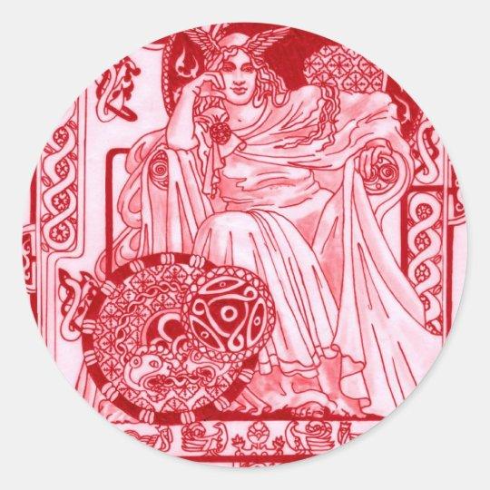 Red Queen Corbie Classic Round Sticker