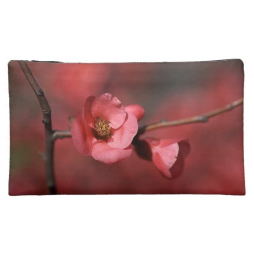 Red Quince Flowers Medium Cosmetic Bag
