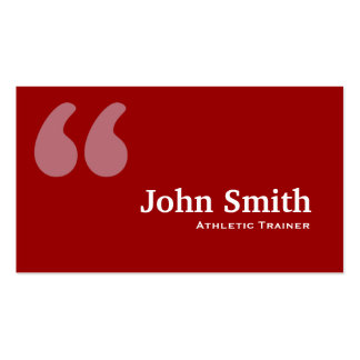 Red Quotes Athletic Trainer Business Card
