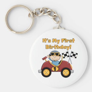 Red Race Car 1st Birthday Tshirts and Gifts Basic Round Button Key Ring