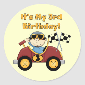 Red Race Car 3rd Birthday Tshirts and Gifts Round Sticker