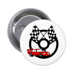 Red Race Car and Flags Buttons