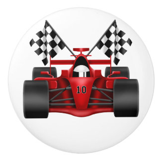 Red Race Car Ceramic Knob