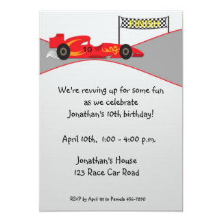 Red Race Car, Finish Line, Birthday Invitation